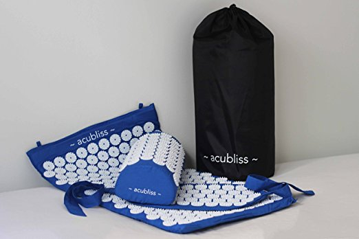 AcuBliss Acupressure Mat, Pillow, Pad, and Bag